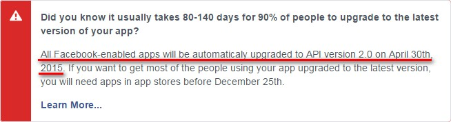 Facebook API automaticaly upgrade to v2.0 on 20140430