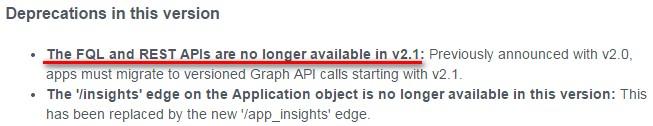 Facebook API FQL no longer available in v2.1